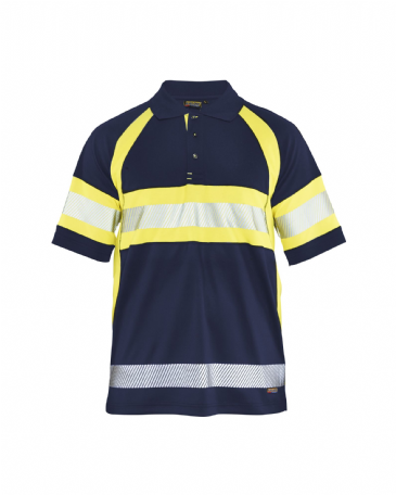 Blaklader 3338 High Vis Polo Shirt Class 1 (Navy Blue/Yellow)